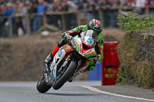 James Hilier in action in the Supersport class at Union Mills at the Isle of Man TT this year.