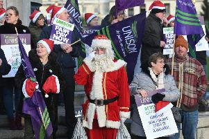Unison members took their protest to Stormont earlier this week