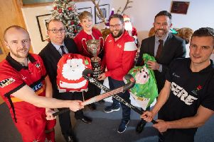 Millar McCall Wylie has announced a sponsorship deal with Ulster hockeys most prestigious male competition, the Kirk Cup. The team from Millar McCall Wylie visited NI Childrens Hospice this week to share Christmas gifts ahead of the competitive final on Boxing Day. Funds raised on Boxing Day will go towards supporting NI Childrens Hospice and this important service in Northern Ireland. Pictured is (L-R) Eugene Magee Captain of Banbridge, Christopher McCandless, Millar McCall Wylie, Sheila Duffy, NI Childrens Hospice nurse, Marc Scott, Ulster Hockey, Jan Cunningham, Millar McCall Wylie and Jonny Bell from Lisnagarvey.