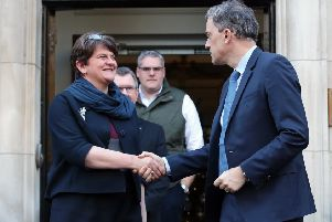 DUP leader Arlene Foster shakes hands with Northern Ireland Secretary Julian Smith at Stormont House