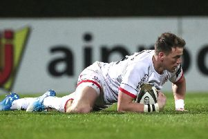 Craig Gilroy goes over for a try to secure a bonus point for Ulster in their defeat against Leinster