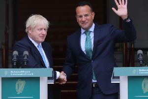 Boris Johnson meeting Leo Varadkar in Dublin. A few weeks later, the prime ministers flagrantly betrayed unionists, by the standards of his own rhetoric, about never accepting a border in the Irish Sea. Then a few weeks after that betrayal, the recent decline in the unionist vote was confirmed by the general election results. Photo: Niall Carson/PA Wire