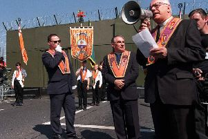 Orangemen protesting after being prevented from parading along the lower Ormeau Road