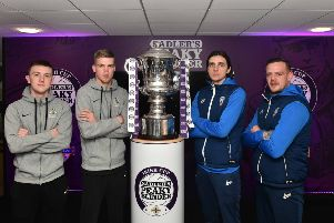 Glenavon's James Singleton and Rhys Marshall and Coleraine's Jamie Glackin and Aaron Canning during the Sadler's Peaky Blinder Irish Cup round 5 draw. Pic Colm Lenaghan/Pacemaker