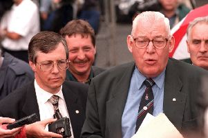 Peter Robinson, left, pictured with Ian Paisley and Sammy Wilson in 1997