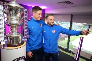 Hanover's Matthew Shortt and James Sergeant will be aiming to add to the Irish Cup memories this weekend against Cliftonville. Pic by PressEye Ltd.