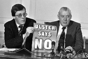 Peter Robinson and Ian paisley pictured in 1985