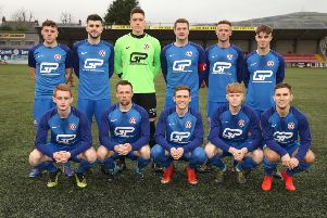 Hanover players ahead of facing Cliftonville in the Irish Cup fifth round. Pic by INPHO.