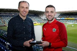 Conor McMenamin is pictured with NIFWA Chairman Stuart McKinley