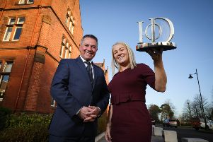 Institute of Directors Northern Ireland Chairman Gordon Milligan launches the IoD Director of the Year Awards 2020, with Orla McGerr, Head of Corporate Trading at awards headline sponsor AIB