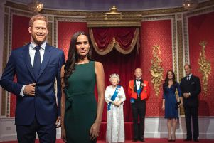 """Madame Tussauds London moves its figures of the Duke and Duchess of Sussex from its Royal Family set to elsewhere in the attraction, in the wake of the announcement that they will take a step back as """"senior members"""" of the royal family, dividing their time between the UK and North America. (Photo: Victoria Jones/PA Wire)"""