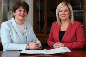 Arlene Foster and Michelle O'Neill putting on a united front on Saturday afternoon after being appointed first minister and deputy first minister