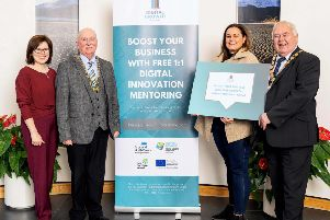 Launching the Digital Growth Programme are Mary Young from Invest Northern Ireland; Councillor Charlie Casey, Chair of Newry Mourne and Down District Council; Niamh Taylor from Alchemy Digital Training Ltd and Alderman Bill Keery, Mayor of Ards and North Down Borough Council
