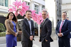 Pictured are John Phelan, All-Island Director of HBAN (centre right) with Claudine Owens, Jim Curran and Neil Simms from Clarendon Fund Managers