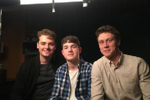 Young NI film critic Kasper Andreasen with Dean Charles Chapman (left) and George Mackay (right) the two stars of the Oscar and BAFTA nominated and Golden Globes winning war epic 1917