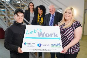 Pictured are Orla McStravick Director of Infrastructure at TEO, Alex McKee Programme Manager of Let's Work, David McIlhagger Vice Chair of Carrickfergus Enterprise with participants Matthew Witherspoon and Natasha Kenny