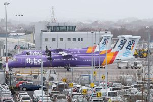 Flybe planes parked at Belfast City Airport on Monday. The airline has agreed a rescue deal with the government