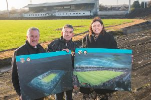 Communities Minister Deirdre Hargey today outlined some of her priorities including her commitment to Casement Park. Pictured at Casement Park with Finance Minister Conor Murphy and Tom Daly, the chairman of Casement Park Stadium Development Project Board