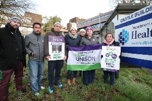 Unison healthcare staff at a previous picket at the Department of Health at Stormont