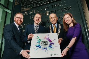 Simon Hamilton, CEO of Belfast Chamber is pictured with Paul McClurg, BOI, Rajesh Rana, Belfast Chamber President and Clodagh Rice, BBC Business Journalist who compered the launch event