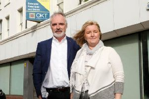 John Borland, Managing Director and Maureen McCluggage Operations Director pictured outside their new premises soon to be Payescape House