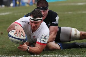 Marcell Coetzee scores the opening try for Ulster against Bath
