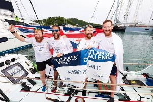 Team HMS Oardacious: Hugo, Callum, Dylan and Matthew arrive in Antigua  picture BEN DUFFY Photography ltd.