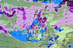 The purple area above Northern Ireland denotes snowfall which is forecast to fall at the beginning of next week.