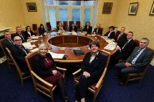 The new five party power-sharing Executive at Stormont which was formed after the completion of the New Decade New Approach deal. Photo: Pacemaker