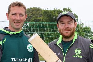 Paul Stirling, right, with Andrew White. Picture: Cricket Europe