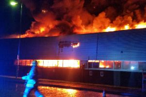 Firefighters battle the blaze at ISL Waste Management, Mallusk