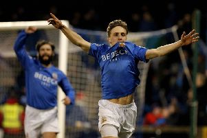 Joel Cooper celebrates a goal for Glenavon. Pic by Pacemaker.