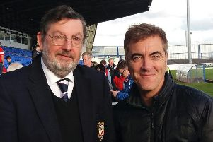 Hunter McClelland, Coleraine FC fan, and actor James Nesbitt (also a fan of the club) pictured at the Coleraine Showgrounds, during the 2017/18