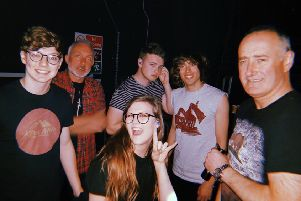 The band on their most recent tour ' Aaron, Lauren, Luke and Taylor, with manager Phil McAlister (far right) and tech Chris Harris (red shirt)