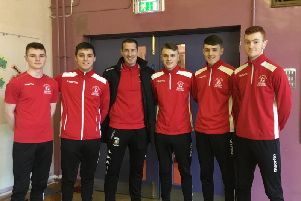 Some of the young athletes enrolled in Larne High Schools Football Academy - the pupils are from all over the East Antrim and greater Belfast area.