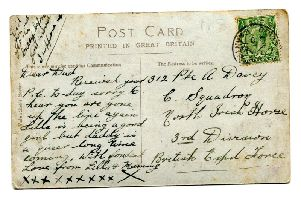 Reverse of the postcard sent to Carrick man, Private Allen Davey, who was killed in action during WWI.