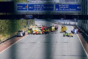 The scene of Sunday's crash on the M2