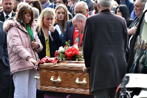 Family and Friends pay their final respects at the funeral of Matthew Campbell at Fleming & Cuthbert Funeral Home in  Ballyclare today. Photo: Colm Lenaghan/Pacemaker Press