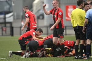 Crusaders players surround Jordan Forsythe after he scored from the half way line'' Mandatory Credit: Stephen Hamilton -Inpho