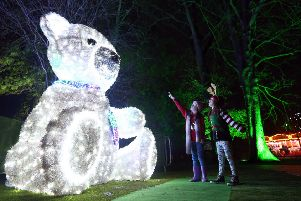 The Enchanted Winter Garden at Antrim Castle Gardens will be open to the public until December 17. The popular visitor attraction is open as normal, despite an attack by vandals on Saturday night. Pictured are children enjoying some of the illuminations. Pic by Steven Davison