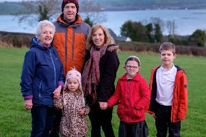 Jonny and Paula Hanson with son Joshua (8) and daughters Bethany (6) and Sophia (3) along with Noreen Christian. Photograph: Columba O'Hare/ Newry.ie