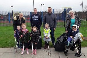 Cllr Foster pictured with volunteers at the clean up event.