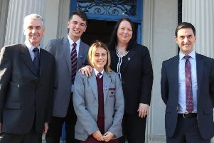 Mr Baker was welcomed to the school by Principal M�ire Thompson, Chairman of the Board of Governors, Mr Trevor Parkhill MBE, the head boy and girl of Hazelwood, Aniesha Courtney and Tony Carlisle.