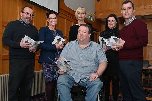 At the launch were (back, from left) Prof Kieran McEvoy (QUB), Lesley Veronica (Victims and Survivors Forum), Victims Commissioner Judith Thompson, Dr Cheryl Lawther (QUB), Alan Brecknell and (front) Paul Gallagher (both Victims and Survivors Forum)