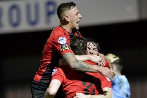 Crusaders celebrate moving into a 2-1 lead during victory over Warrenpoint Town. Pic by INPHO.