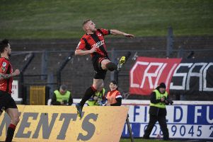 David Cushley celebrates his goal. 'Mandatory Credit �INPHO/Stephen Hamilton
