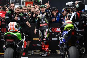 Jonathan Rea claimed his eighth successive runner-up finish this season behind Alvaro Bautista in the Superpole race at Aragon on Sunday.