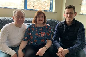 Rita and husband Raymond with Ardoyne Paramedic Gavin Coogan.