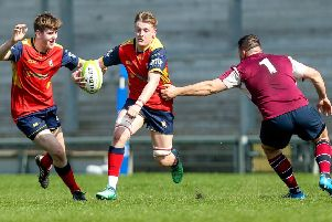 Ballyclare's ''Aaron Playfair on the attack during the Ulster Towns' Cup final against Enniskillen