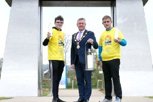 Mayor of Antrim and Newtownabbey, Councillor Paul Michael launches this year's Darkness into Light which will take place at V36, Newtownabbey on May 11,at 4.15am.